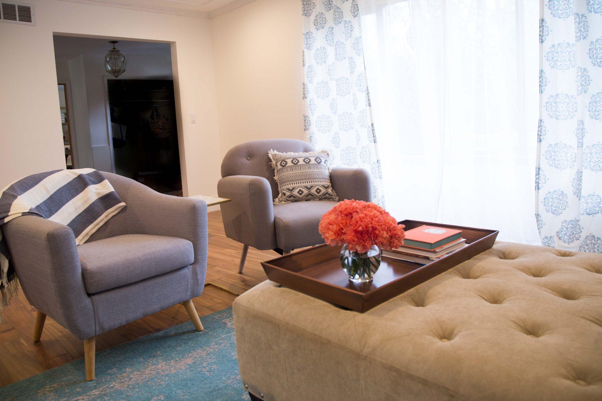our living room refresh on allweareblog.com | fixer upper | midcentury remodel | blue vintage rug