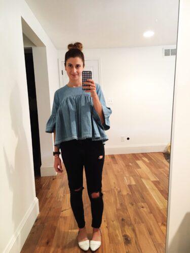 instagram stories roundup on allweareblog.com   shein bell sleeve top, topshop black moto jeans, madewell flats