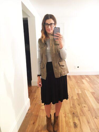 instagram stories roundup on allweareblog.com | banana republic utility vest, gap perfect tee, asos midi skirt, dolce vita booties
