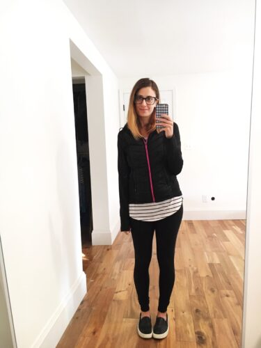 instagram stories roundup on allweareblog.com | rayban glasses, h&m hooded jacket, bp nordstrom striped long sleeve top, zella lived in leggings, target slip on shoes