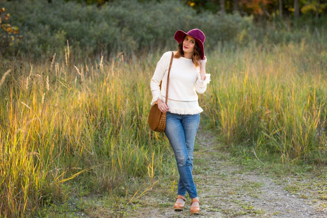 shein white eyelet crochet insert fringe trim top, sandgrens victora clog and gigi pip eve burgandy knit floppy hat on allweareblog.com