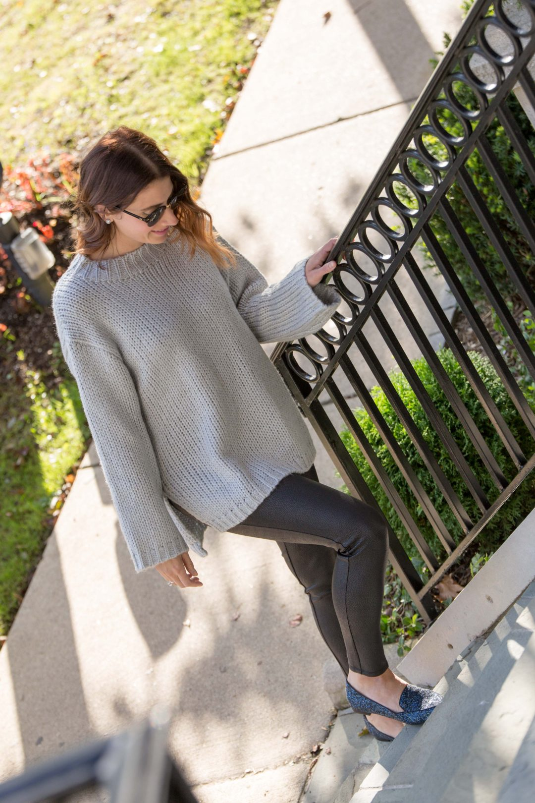 how to wear a sweater and leggings and still look put together on allweareblog.com | chicwish glamour on back sweater in grey, bb dakota ponte snakeskin leggings, sole society cammila smoking slipper navy flats
