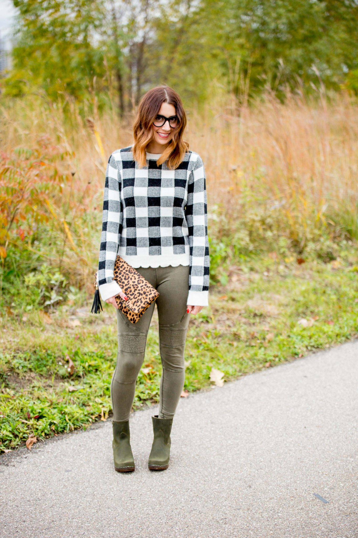 how to wear olive green in the fall | fall style | sandgrens clogs manhattan boots | gray monroe vanna sweater | black gingham sweater | sweater and leggings style | nordstrom bp stretch cotton moto leggings | sole society leopard clutch | olive fall on allweareblog.com