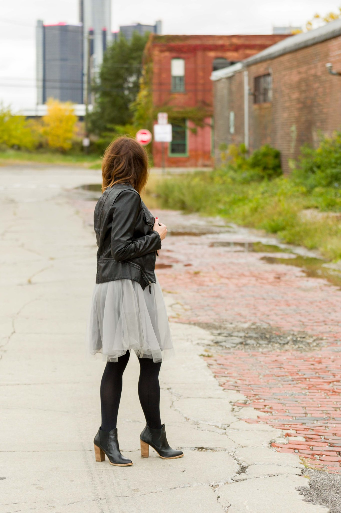 gray monroe jordan dress | women's tutu dress | how to pair a fancy dress with a leather moto jacket | edgy chic look on allweareblog.com