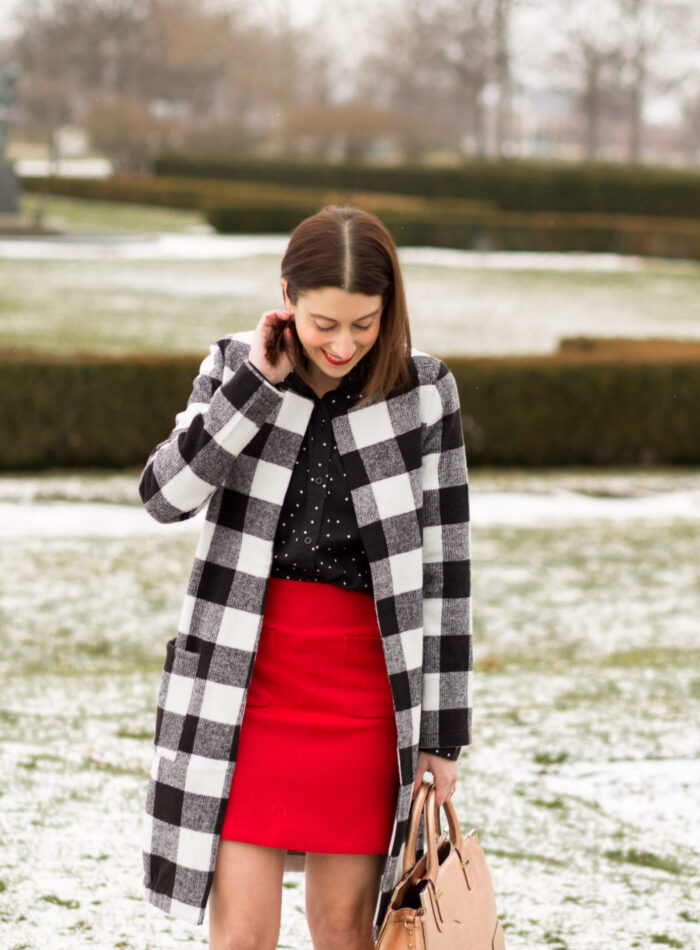 how to incorporate red into your wardrobe | red wool skirt on allweareblog.com | valentine's day outfit ideas