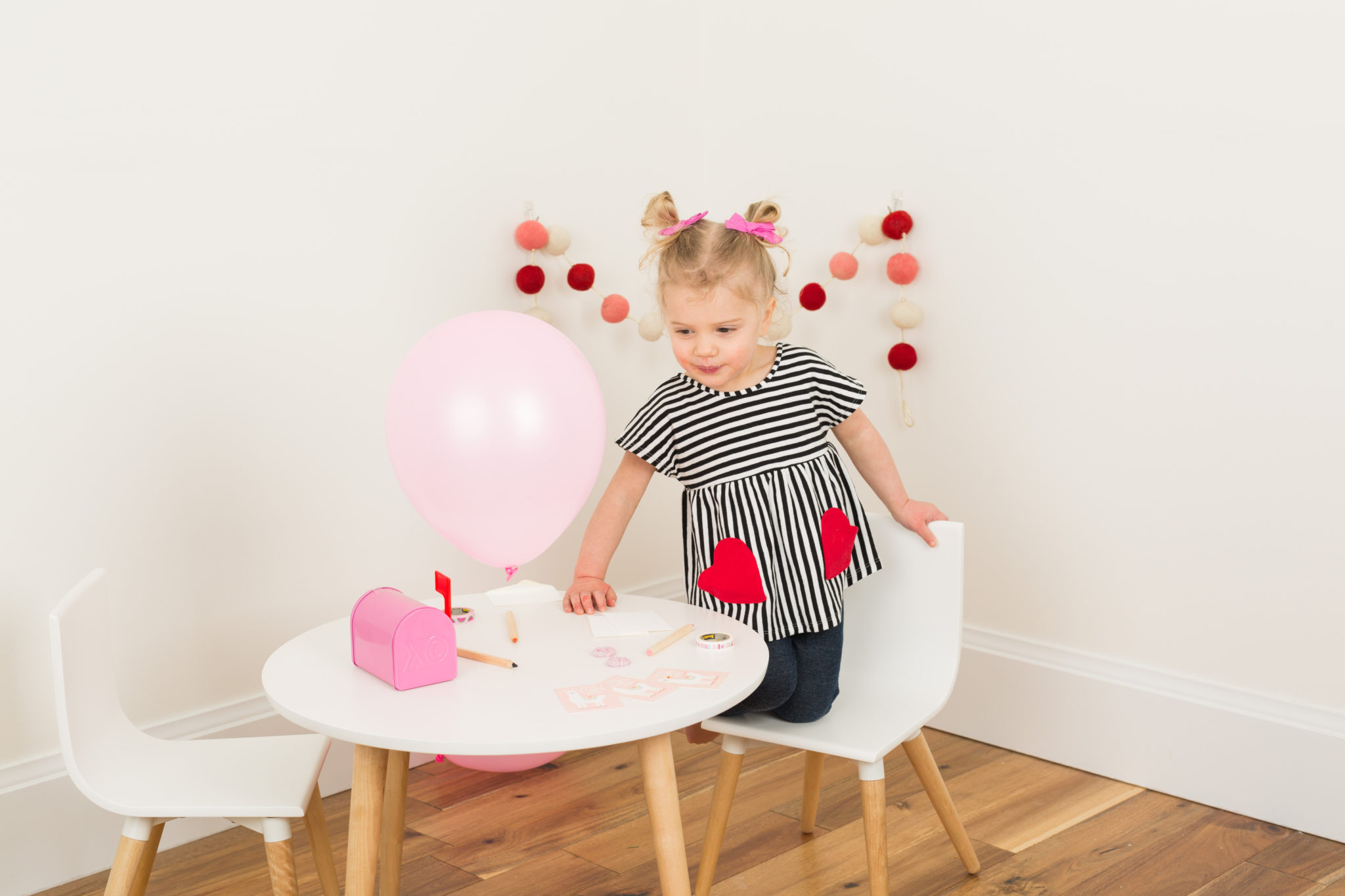 minted classroom valentine's on allweareblog.com | valentine's decor | toddler girl valentine's day outfit
