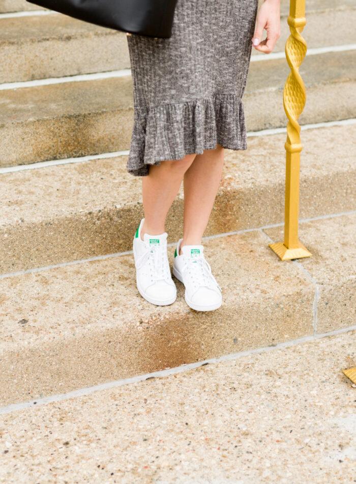 the perfect cold shoulder dress for spring | shein cold shoulder dress | how to wear a dress with sneakers on allweareblog.com