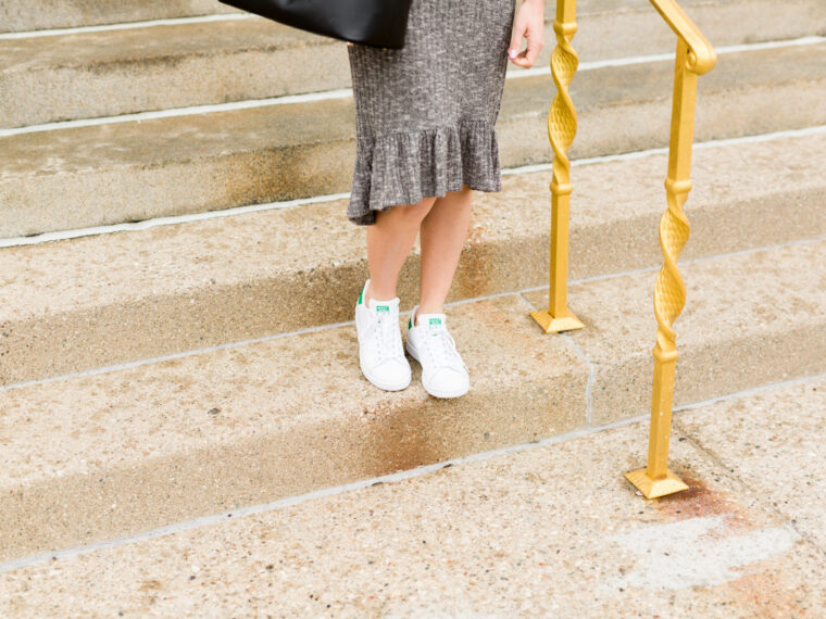 the perfect cold shoulder dress for spring | shein cold shoulder dress | how to wear a dress with sneakers on allweareblog.com