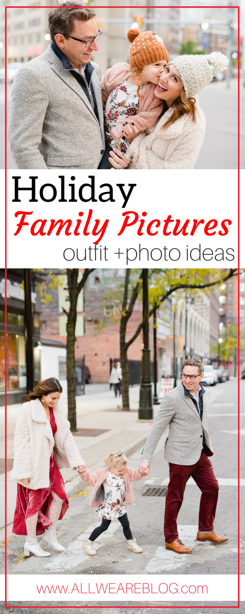 our holiday photos | what to wear for family holiday photos | family christmas photo ideas on allweareblog.com