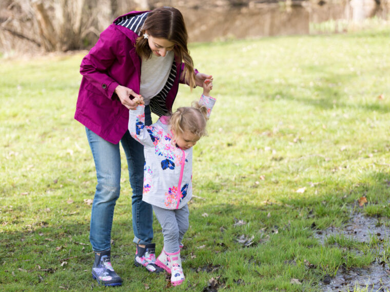 Mommy and me matching rain coats and rain boots | Joules wellies and jackets on allweareblog.com