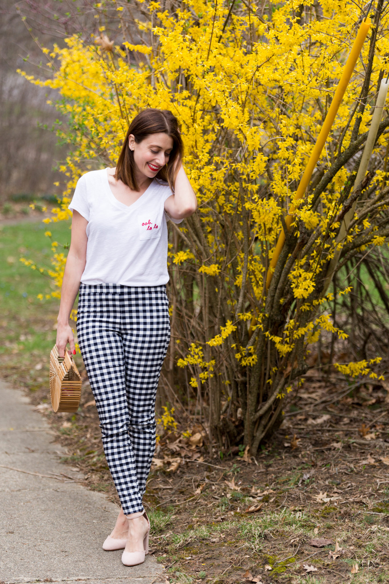 Macy's spring fashion event   gingham pants   embroidered t-shirt   oh la la graphic t-shirt   spring fashion   the best of spring fashion   cult gaia arc bag   how to style gingham pants on allweareblog.com