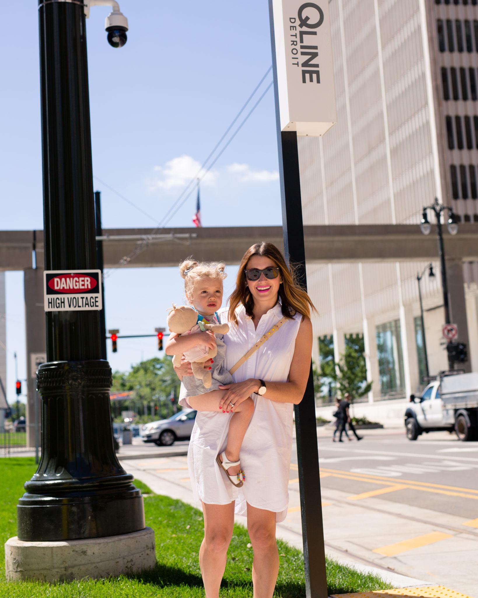 riding the new qline train downtown detroit on allweareblog.com