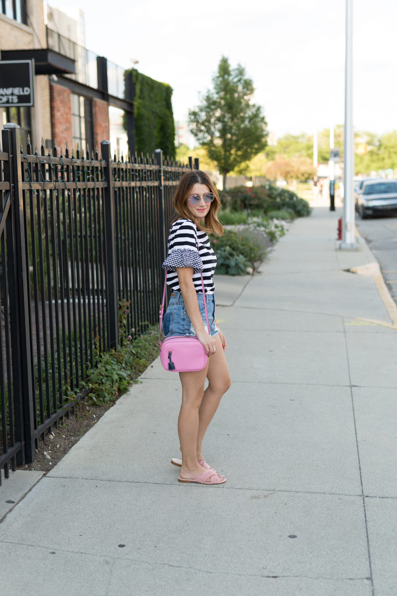 Romwe Striped T-shirt With Gingham Ruffle Sleeve | a fun summer looks with cutoff denim shorts and a striped shirt on allweareblog.com
