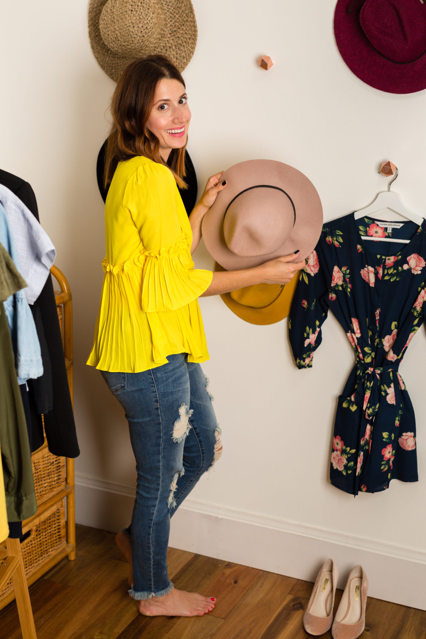 How to organize your clothes | how to hang your hats | hat hooks | hat wall | Dove Invisible Dry Spray Deodorant | how I get out to door quickly on allweareblog.com