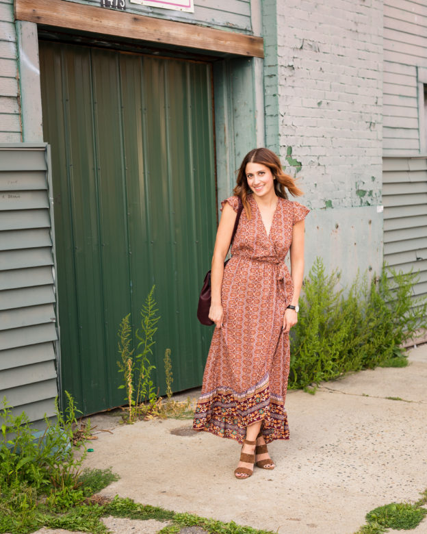 How to style a wrap dress | the best wrap dress under $60 | Band of GypsiesFaux Wrap Maxi Dress, Pixie MoodKim Convertible Faux Leather Backpack, Madewell sandals | how to wear a wrap dress this fall on allweareblog.com