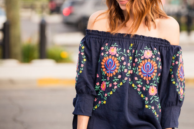 Chicwish Tales of Flowers Embroidered Off-shoulder Dress in Navy, Lucky Brand Kambry booties, Sole Society bag | My thoughts on starting a capsule wardrobe on allweareblog.com