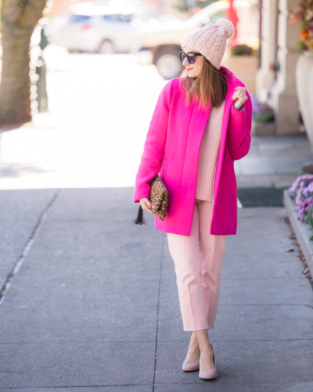 the perfect statement coat for winter | monochromatic look | how to wear head to toe pink on allweareblog.com