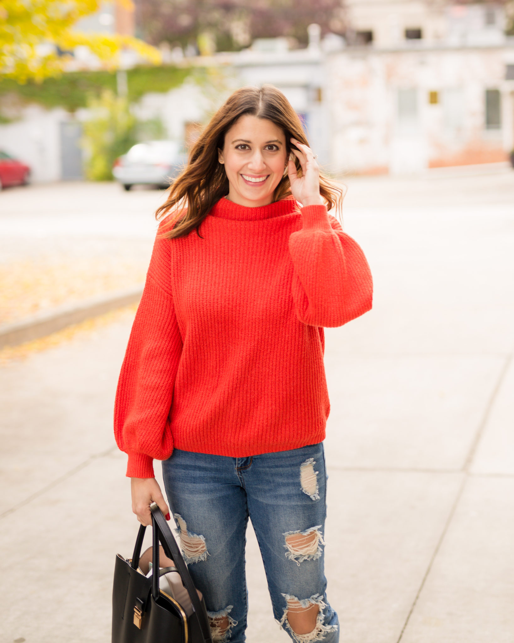 transitioning your style from fall to winter | the perfect red sweater for the holidays | the best Gucci Princetown leather slipper dupe on allweareblog.com