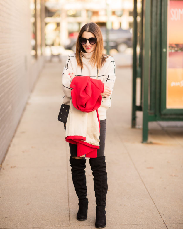 how to incorporate a red coat into your winter style on allweareblog.com