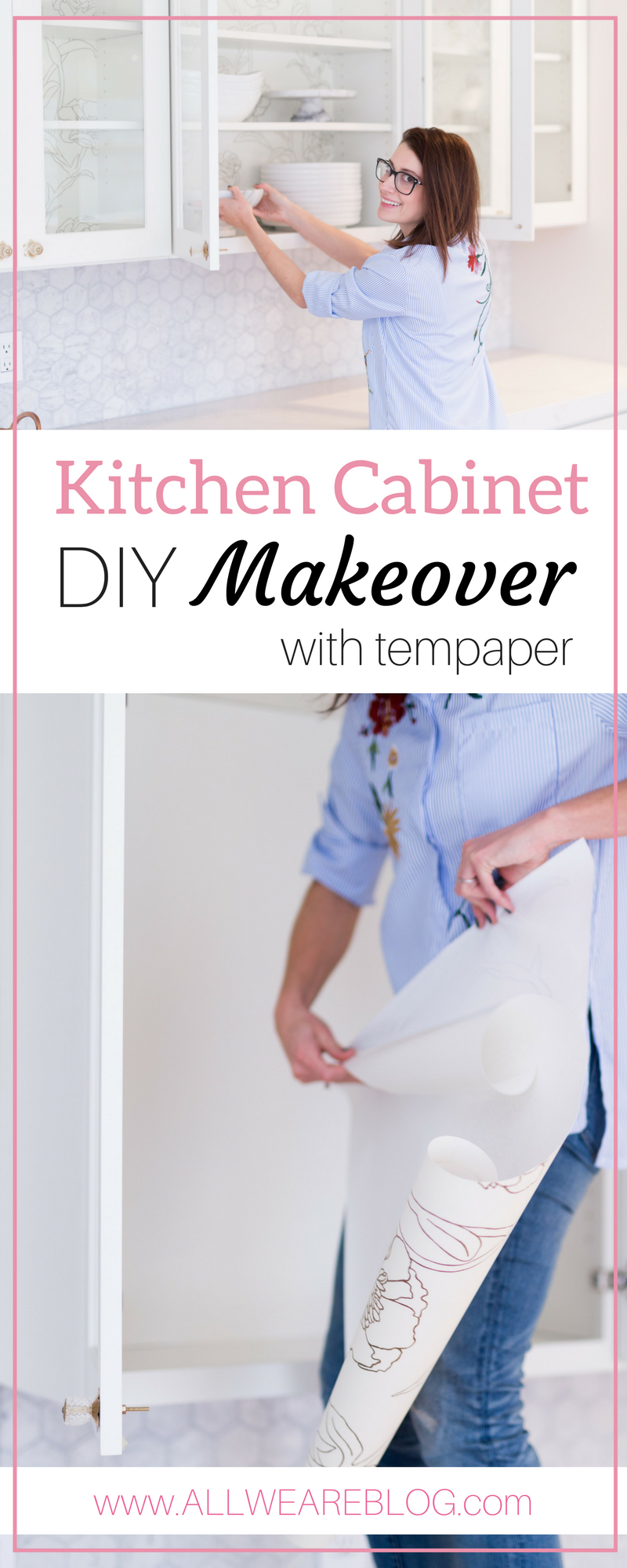 kitchen cabinet diy makeover with tempaper