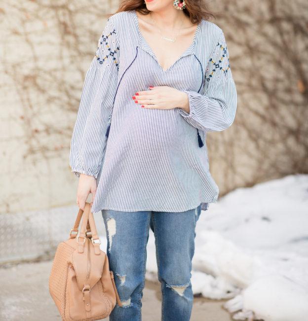 my very favorite maternity jeans under $50 on allweareblog.com